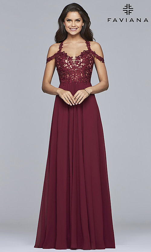 Image of chiffon long Faviana cold-shoulder formal prom dress. Style: FA-10006 Detail Image 1
