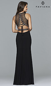 Image of corset-back two-piece Faviana long formal prom dress. Style: FA-S10033 Back Image
