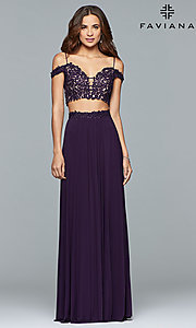 Image of Faviana long off-the-shoulder two-piece prom dress. Style: FA-10045 Front Image