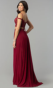 Image of Faviana long off-the-shoulder two-piece prom dress. Style: FA-10045 Back Image
