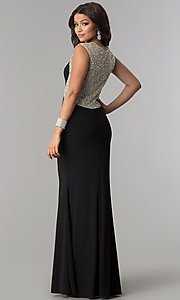 Image of long black formal prom dress with embellished back.  Style: DQ-2229 Back Image