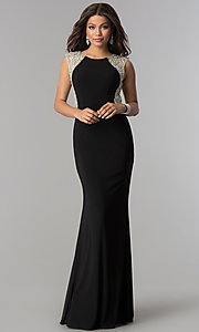 Image of long black formal prom dress with embellished back.  Style: DQ-2229 Detail Image 3