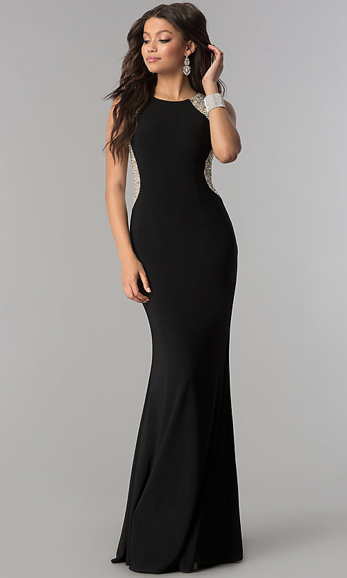 Image of long black formal prom dress with embellished back.  Style: DQ-2229 Front Image