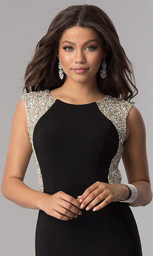 Image of long black formal prom dress with embellished back.  Style: DQ-2229 Detail Image 2