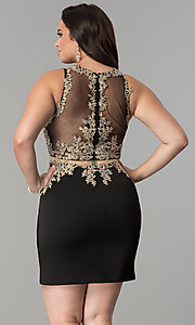 Image of short plus-size mock two-piece homecoming dress.  Style: DQ-2000P Back Image