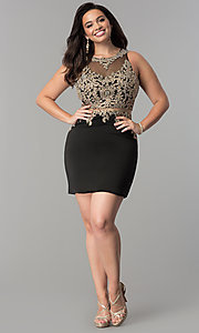 Image of short plus-size mock two-piece homecoming dress.  Style: DQ-2000P Detail Image 2
