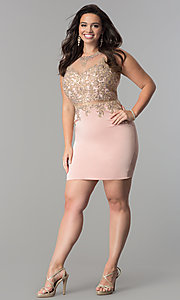 Image of short plus-size mock two-piece homecoming dress.  Style: DQ-2000P Detail Image 3