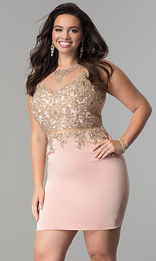 Short Plus-Size Mock Two-Piece Homecoming Dress