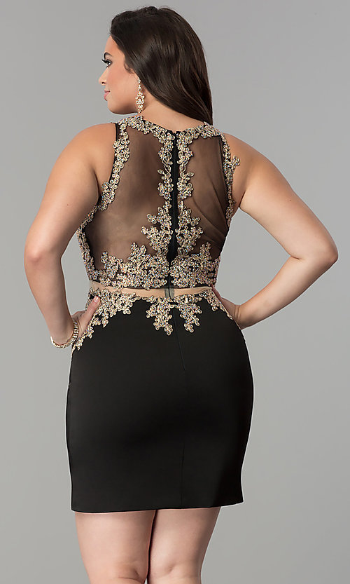 Mock Two Piece Short Plus Size Homecoming Dress