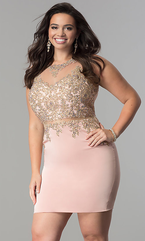 Image of short plus-size mock two-piece homecoming dress.  Style: DQ-2000P Front Image