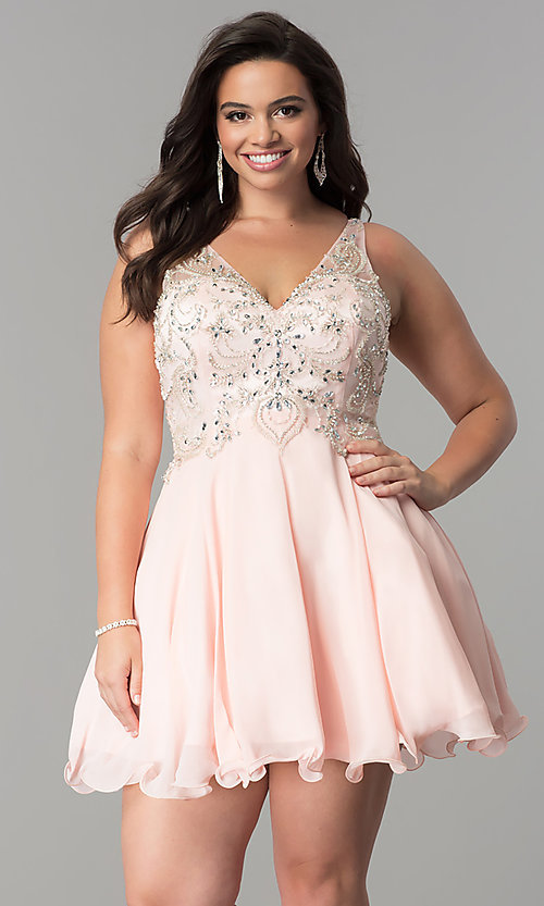 Image of short plus-size beaded-bodice v-neck homecoming dress.  Style: DQ-9998P Front Image
