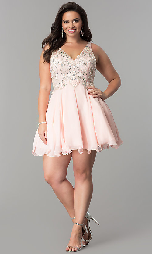 Image of short plus-size beaded-bodice v-neck homecoming dress.  Style: DQ-9998P Detail Image 1