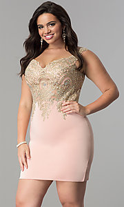 Image of short plus-size homecoming dress with lace applique.  Style: DQ-2001P Front Image