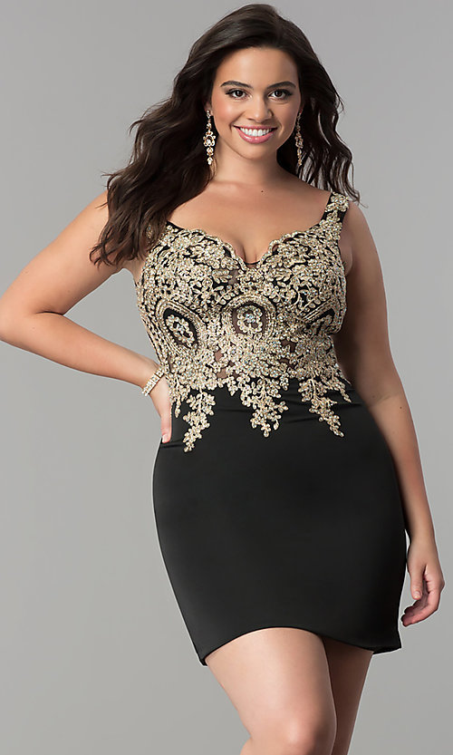 Image of short plus-size homecoming dress with lace applique.  Style: DQ-2001P Detail Image 1