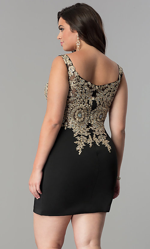 Image of short plus-size homecoming dress with lace applique.  Style: DQ-2001P Back Image