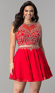 Image of plus-size mock two-piece short homecoming dress.  Style: DQ-2123P Front Image