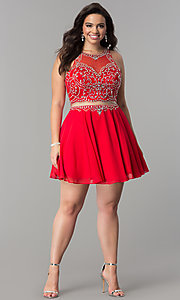 Image of plus-size mock two-piece short homecoming dress.  Style: DQ-2123P Detail Image 1