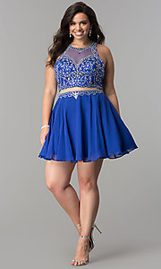 Image of plus-size mock two-piece short homecoming dress.  Style: DQ-2123P Detail Image 3