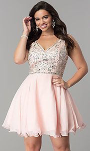 Image of plus-size short chiffon homecoming party dress. Style: DQ-2118P Front Image