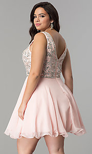 Image of plus-size short chiffon homecoming party dress. Style: DQ-2118P Back Image