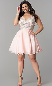 Image of plus-size short chiffon homecoming party dress. Style: DQ-2118P Detail Image 3