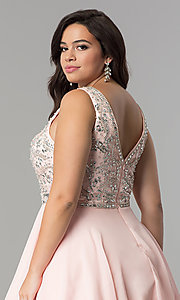 Image of plus-size short chiffon homecoming party dress. Style: DQ-2118P Detail Image 2