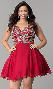 Image of plus-size short chiffon homecoming party dress. Style: DQ-2118P Detail Image 4