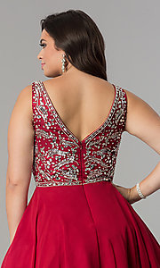 Image of plus-size short chiffon homecoming party dress. Style: DQ-2118P Detail Image 7