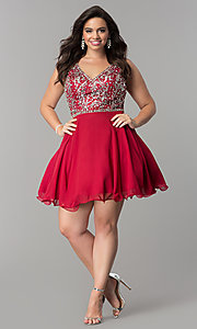Image of plus-size short chiffon homecoming party dress. Style: DQ-2118P Detail Image 8