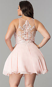 Image of plus-size illusion-lace bodice short homecoming dress.  Style: DQ-2076P Back Image