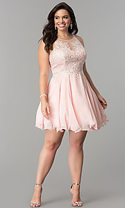 Image of plus-size illusion-lace bodice short homecoming dress.  Style: DQ-2076P Detail Image 1