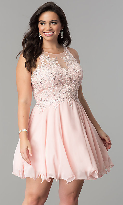 Image of plus-size illusion-lace bodice short homecoming dress.  Style: DQ-2076P Front Image