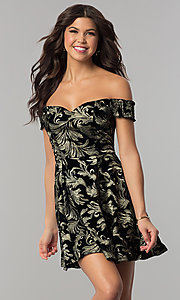 Image of short off-the-shoulder black velvet party dress. Style: EM-FMU-3334-030 Front Image