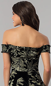 Image of short off-the-shoulder black velvet party dress. Style: EM-FMU-3334-030 Detail Image 2