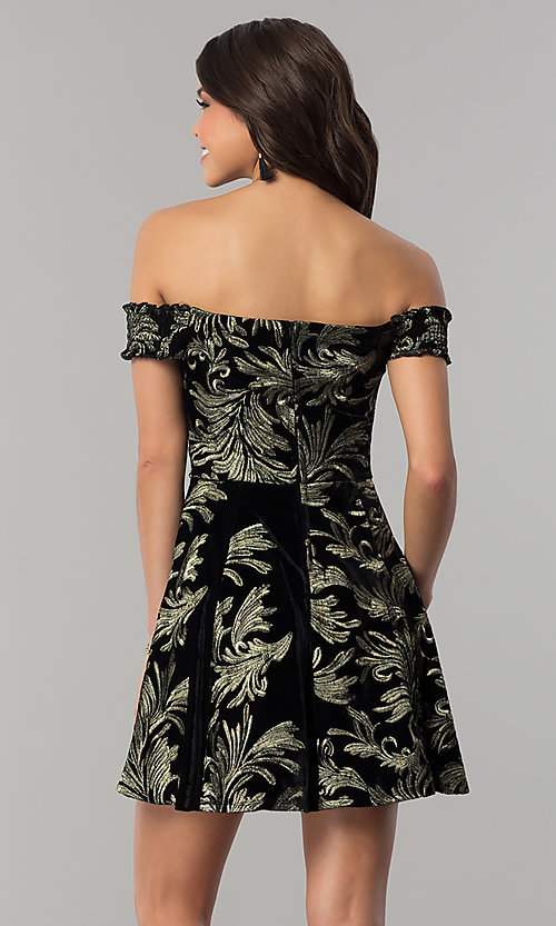 Image of short off-the-shoulder black velvet party dress. Style: EM-FMU-3334-030 Back Image