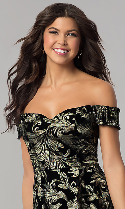 Image of short off-the-shoulder black velvet party dress. Style: EM-FMU-3334-030 Detail Image 1