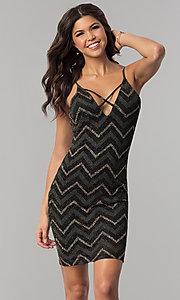 Image of short v-neck metallic chevron-stripe party dress. Style: EM-FNG-3279-085 Front Image