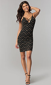 Image of short v-neck metallic chevron-stripe party dress. Style: EM-FNG-3279-085 Detail Image 3