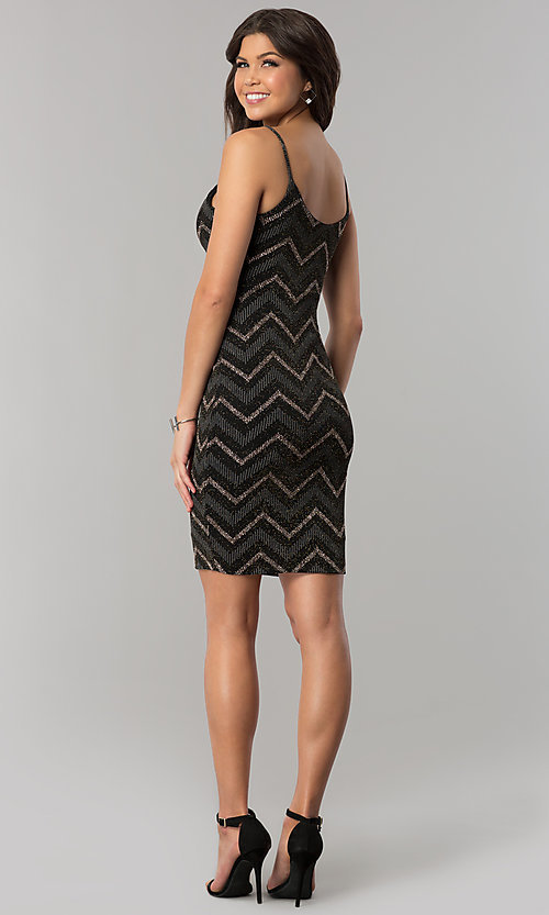 Image of short v-neck metallic chevron-stripe party dress. Style: EM-FNG-3279-085 Back Image