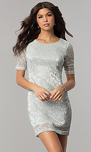 Image of sleeved silver-sequin short holiday party dress.  Style: EM-FME-3313-040 Front Image