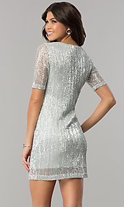 Image of sleeved silver-sequin short holiday party dress.  Style: EM-FME-3313-040 Back Image