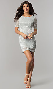 Image of sleeved silver-sequin short holiday party dress.  Style: EM-FME-3313-040 Detail Image 2