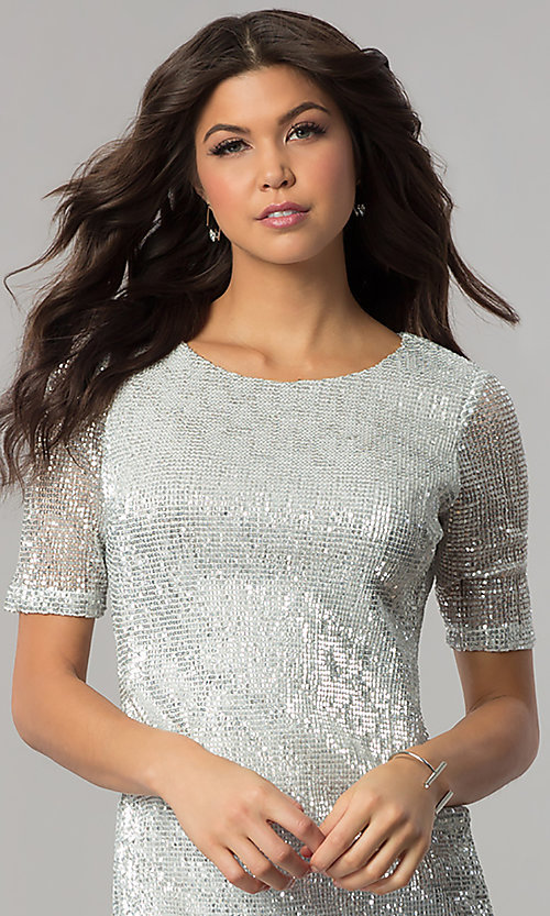 Image of sleeved silver-sequin short holiday party dress.  Style: EM-FME-3313-040 Detail Image 1