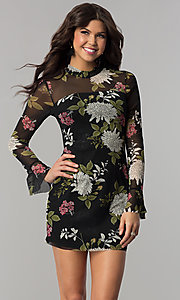 Image of long-sleeved floral-print short wedding-guest dress. Style: EM-FHB-3454-006 Front Image
