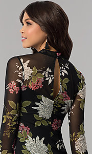 Image of long-sleeved floral-print short wedding-guest dress. Style: EM-FHB-3454-006 Detail Image 2