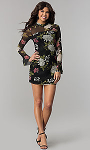 Image of long-sleeved floral-print short wedding-guest dress. Style: EM-FHB-3454-006 Detail Image 3