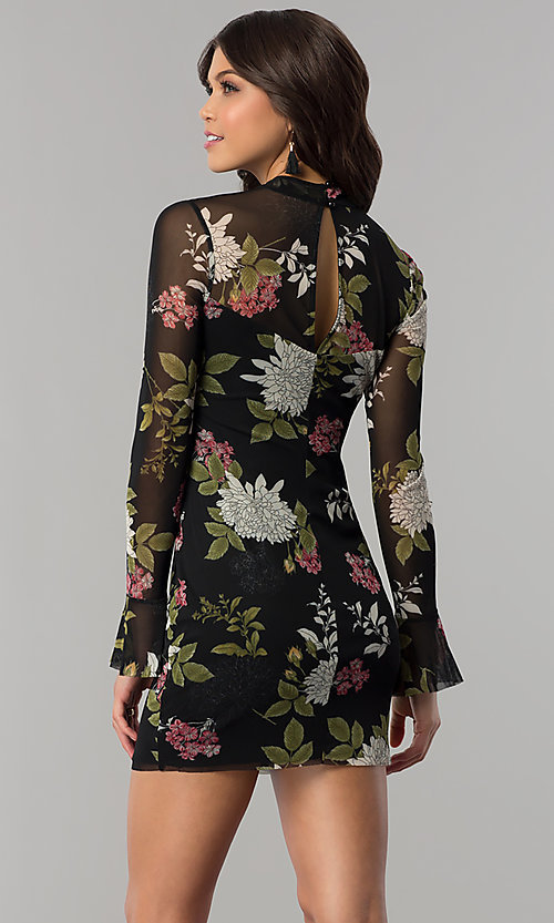 Image of long-sleeved floral-print short wedding-guest dress. Style: EM-FHB-3454-006 Back Image