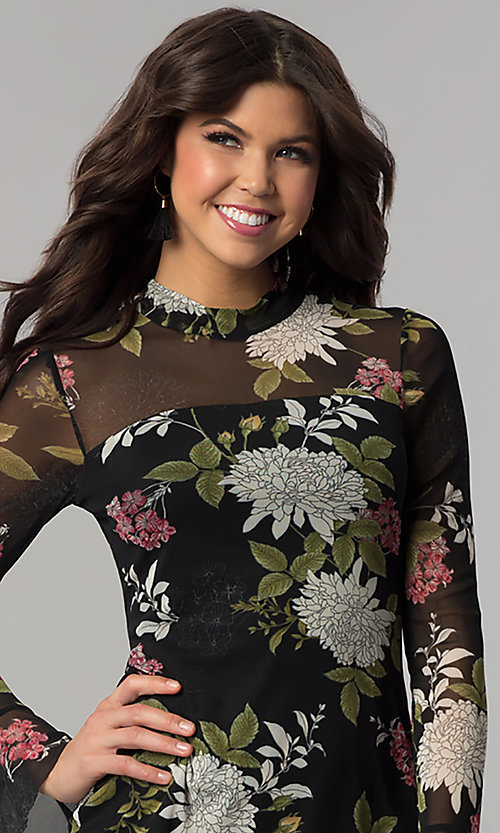 Image of long-sleeved floral-print short wedding-guest dress. Style: EM-FHB-3454-006 Detail Image 1