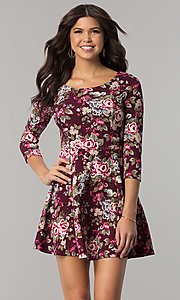 Image of floral-print short casual party dress with sleeves. Style: EM-FQT-3345-511 Front Image