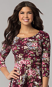 Image of floral-print short casual party dress with sleeves. Style: EM-FQT-3345-511 Detail Image 1